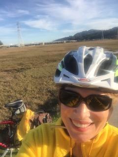 Kat selfie riding bike